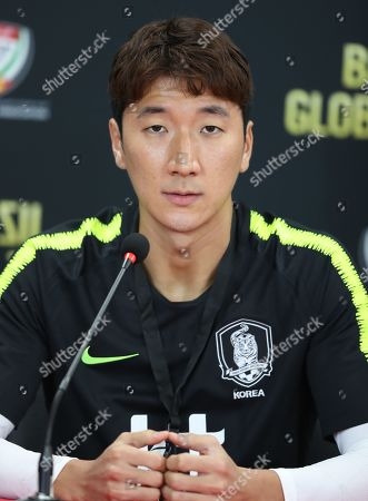 South Korea's player Jung Woo Young attends a press conference in Abu Dhabi, United Arab Emirates, 18 November 2019. South Korea will face Brazil in their International Friendly soccer match on 19 November 2019 in Abu Dhabi.
