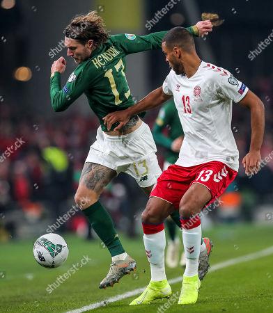 Republic of Ireland vs Denmark. Ireland's Jeff Hendrick with Mathias Jorgensen of Switzerland
