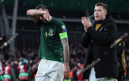 Republic of Ireland vs Denmark. Ireland's Shane Duffy and James Collins dejected after the game