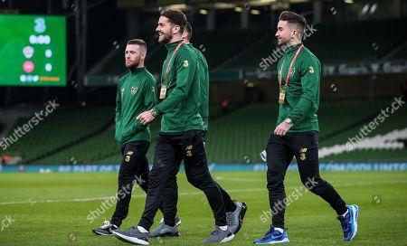 Republic of Ireland vs Denmark. Ireland's Robbie Brady and Sean Maguire