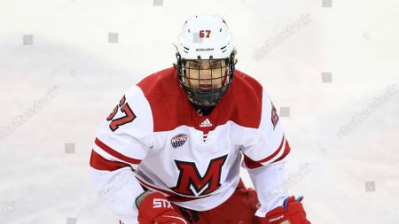 Stock Picture of Miami RedHawks' Phil Knies (67) during an NCAA hockey game against the Minnesota-Duluth Bulldogs, in Oxford, Ohio