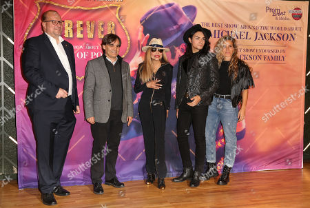 Promoter Ralf Sesselberg, producer Carlos Lopez, US singer La Toya Jackson, dancer and singer Lenny Jay and dancer Yurena Molina attend the presentation of 'Forever - King of Pop', a show about late Michael Jackson, in Berlin, Germany, 18 November 2019. The show, which travels to 15 German cities, opens in Berlin on 10 January 2020.