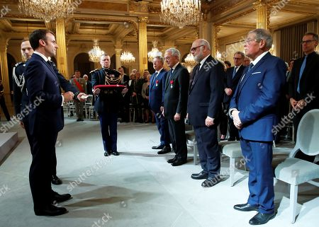 Editorial photo of French President Emmanuel Macron delivers a speech during a medal ceremony at the Elysee Palace in Paris, France - 18 Nov 2019