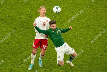 Republic of Ireland vs Denmark. Republic of Ireland's Sean Maguire with Kasper Dolberg of Denmark