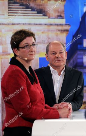 Stock Picture of Candidates couple Olaf Scholz (R), with Klara Geywitz (L) during a debate for the new leadership of the Social Democratic Party (SPD) in Berlin, Germany, 18 November 2019. The candidate couples Norbert Walter-Borjans and Saskia Esken as well as Olaf Scholz and Klara Geywitz are contesting in the run-off election before a party conference in December formally approves the new leadership.