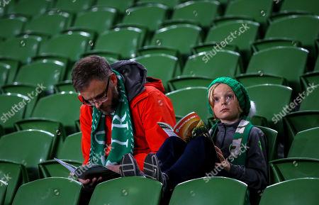 Republic of Ireland vs Denmark. Mark Ryan and his son Paddy from Ballincollig, Cork