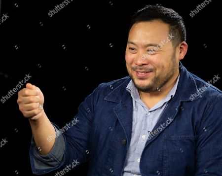"""This photo shows celebrity chef David Chang during an interview in Los Angeles to promote his Netflix series """"Breakfast, Lunch & Dinner"""