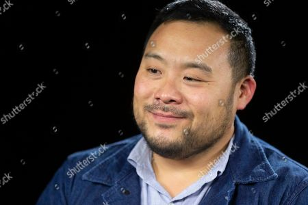 """Stock Image of This photo shows celebrity chef David Chang during an interview in Los Angeles to promote his Netflix series """"Breakfast, Lunch & Dinner"""