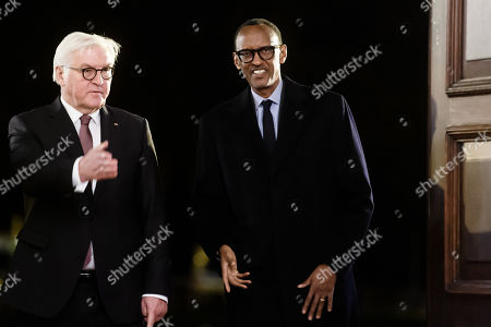 German President Frank-Walter Steinmeier (L) receives Rwandan President Paul Kagame (R) during a reception in Bellevue Palace in Berlin, Germany, 18 November 2019. The G20 Compact with Africa summit takes place from 18 to 20 November 2019.