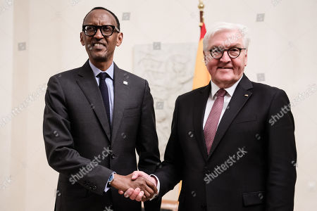 German President Frank-Walter Steinmeier (R) and Rwandan President Paul Kagame (L) pose for photographers during a reception in Bellevue Palace in Berlin, Germany, 18 November 2019. The G20 Compact with Africa summit takes place from 18 to 20 November 2019.