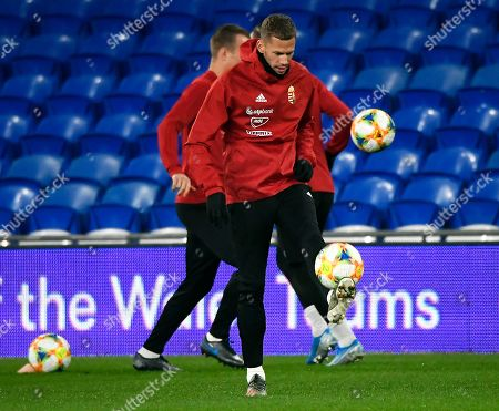 Hungarian Roland Varga attends team's training session at Cardiff City Stadium in Cardiff, Wales, Britain, 18 November 2019. Hungary will face Wales in their UEFA 2020 qualifying soccer match on 19 November 2019.