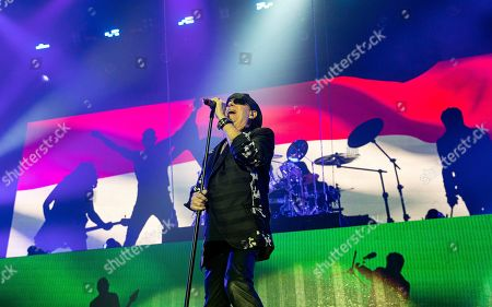 Klaus Meine of German rock band Scorpions performs on stage during their concert in Papp Laszlo Arena in Budapest, Hungary, 18 November 2019.
