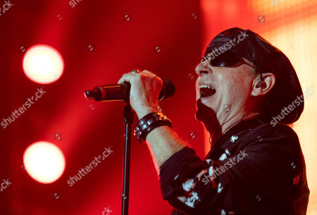 Stock Image of Klaus Meine of German rock band Scorpions performs on stage during their concert in Papp Laszlo Arena in Budapest, Hungary, 18 November 2019.