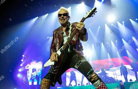 Stock Picture of Rudolf Schenker, guitarist and founding member of German rock band Scorpions performs on stage during their concert in Papp Laszlo Arena in Budapest, Hungary, 18 November 2019.