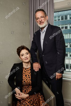 """Marielle Heller, Tom Hanks. This photo shows Marielle Heller, left, and Tom Hanks pose for a portrait in New York to promote their film, """"A Beautiful Day In The Neighborhood"""