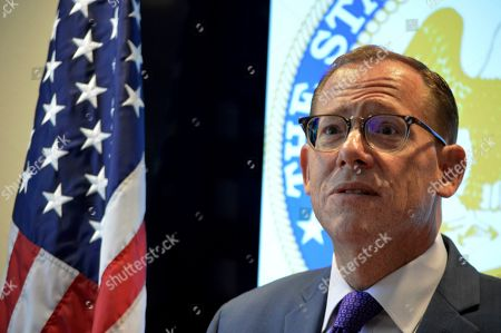 """Stock Photo of New Mexico State Auditor Brian Colon speaks with reporters, in Albuquerque, N.M. Colon says approximately $2.7 million in secret settlements with appointees under former Republican Gov. Susana Martinez were an """"abuse of power"""
