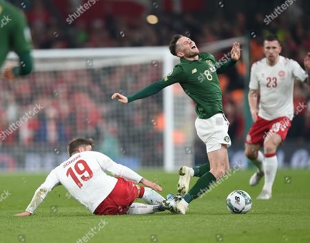 Ireland's Alan Browne is fouled by Lasse Schone of Denmark