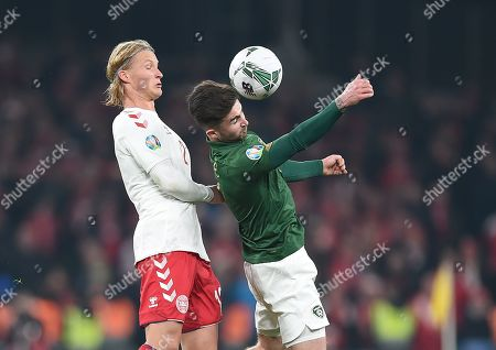Ireland's Sean Maguire and Kasper Dolberg of Denmark