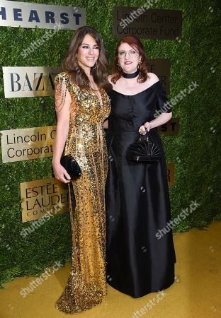 Stock Picture of Elizabeth Hurley, Glenda Bailey. Actress Elizabeth Hurley, left, and Harper's Bazaar editor-in-chief Glenda Bailey arrive at The Lincoln Center Corporate Fund Fashion Gala honoring Leonard A. Lauder at Alice Tully Hall, in New York