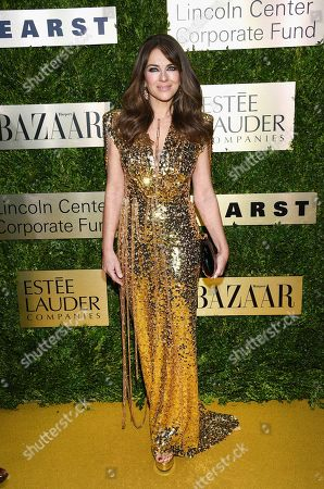 Elizabeth Hurley arrives at The Lincoln Center Corporate Fund Fashion Gala honoring Leonard A. Lauder at Alice Tully Hall, in New York