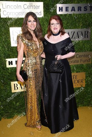 Elizabeth Hurley, Glenda Bailey. Actress Elizabeth Hurley, left, and Harper's Bazaar editor-in-chief Glenda Bailey arrive at The Lincoln Center Corporate Fund Fashion Gala honoring Leonard A. Lauder at Alice Tully Hall, in New York