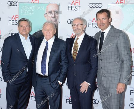 Ted Sarandos, Sir Anthony Hopkins, Jonathan Pryce and Scott Stuber
