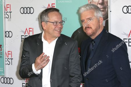 Fernando Meirelles (L) and New Zealand novelist Anthony McCarten (R) pose on the AFI Fest 2019 red carpet during the premiere of 'The Two Popes' at TCL Chinese Theatre in Hollywood, USA, 18 November 2019. â??The Two Popesâ?? will be released on Netflix on 20 December 2019.