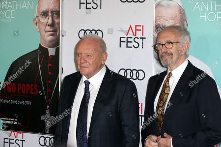Anthony Hopkins (L) and Jonathan Pryce (R) pose on the AFI Fest 2019 red carpet during the premiere of 'The Two Popes' at TCL Chinese Theatre in Hollywood, USA, 18 November 2019. â??The Two Popesâ?? will be released on Netflix on 20 December 2019.
