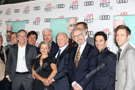 Anthony Hopkins (C) and Jonathan Pryce (C-R) pose with cast members on the AFI Fest 2019 red carpet during the premiere of 'The Two Popes' at TCL Chinese Theatre in Hollywood, USA, 18 November 2019. â??The Two Popesâ?? will be released on Netflix on 20 December 2019.