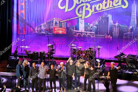 Doobie Brothers, Michael McDonald. The Doobie Brothers acknowledge the audience at The Doobie Brothers at Ryman Auditorium, in Nashville, Tenn