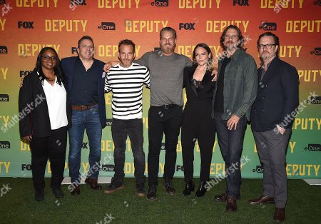 Kim Harrison, Chris Long, Stephen Dorff, Brian Van Holt, Yara Martinez, David Ayer and John Coveny attend FOX's advanced screening of 'Deputy'