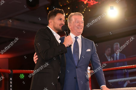 Peter Andre (L) and Frank Warren during the Nordoff Robbins Boxing Dinner at the London Hilton Hotel on 18th November 2019