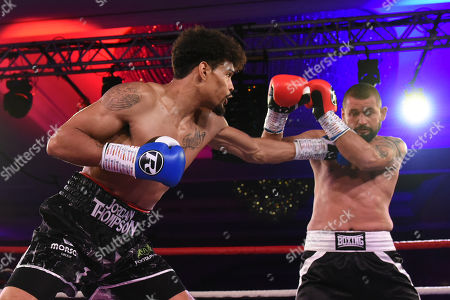 Jordan Thompson (black shorts) defeats Istvan Orsos during the Nordoff Robbins Boxing Dinner at the London Hilton Hotel on 18th November 2019
