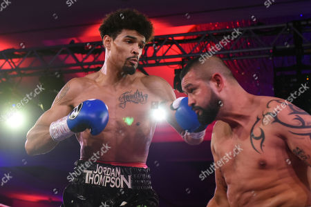 Stock Image of Jordan Thompson (black shorts) defeats Istvan Orsos during the Nordoff Robbins Boxing Dinner at the London Hilton Hotel on 18th November 2019