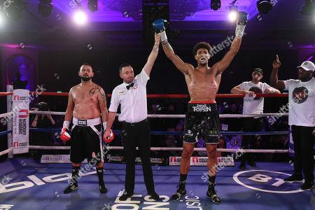 Stock Photo of Jordan Thompson (black shorts) defeats Istvan Orsos during the Nordoff Robbins Boxing Dinner at the London Hilton Hotel on 18th November 2019