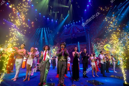 Artists greet the audience on the 6th China International Circus Festival in Zhuhai, Guangdong Province, China, 17 November 2019 (issued 19 November 2019). Zhuhai is a coastal city in Guangdong, Province, China. Also known as a Chinese Riviera just opposite to Macau. Borders Hong Kong to the east and Macau to the west. It is one of China's first Special Economic Zones. The world?s longest sea-crossing bridge, Hong Kong-Zhuhai-Macau bridge has become essential for coordinating innovative developments in cities of the Greater Bay Area. In one year nearly 500 new Macao enterprises were registered in Zhuhai's Hengqin Free Trade Zone. Zhuhai due location and neighboring cities start to attract more visitors with its entertainment business such as China International Circus Festival. China International Circus Festival is considered one of the top venues and the best-paid circus festivals in the world. First time held in 2013 and completed five successful seasons, attracted 45 countries circus playing teams, 134 boutique?s spectacular shows. The Monte-Carlo International Festival, also considered as a world-class festival will present shows in Zhuhai this year.  A total of 24 circus troupes and 200 performers from 22 countries will participate in the 6th China International Festival. Visitors can enjoy watching aerial acrobatics, extreme sports, magic shows and clowns in the Chimelong International Circus City.The design of the Chimelong International Circus City has been inspired by the story of The Lord of The Rings. A large circular LED screen has been embedded in the silver façade of the theater which looks like a diamond ring, adding a variety of modern effects offers a new visual experience.