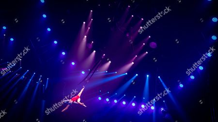 """Stock Picture of Maria Shevchenko from Ukraine perform """"Silk Act""""  on the 6th China International Circus Festival in Zhuhai, Guangdong Province, China, 17 November 2019 (issued 19 November 2019). Zhuhai is a coastal city in Guangdong, Province, China. Also known as a Chinese Riviera just opposite to Macau. Borders Hong Kong to the east and Macau to the west. It is one of China's first Special Economic Zones. The world?s longest sea-crossing bridge, Hong Kong-Zhuhai-Macau bridge has become essential for coordinating innovative developments in cities of the Greater Bay Area. In one year nearly 500 new Macao enterprises were registered in Zhuhai's Hengqin Free Trade Zone. Zhuhai due location and neighboring cities start to attract more visitors with its entertainment business such as China International Circus Festival. China International Circus Festival is considered one of the top venues and the best-paid circus festivals in the world. First time held in 2013 and completed five successful seasons, attracted 45 countries circus playing teams, 134 boutique?s spectacular shows. The Monte-Carlo International Festival, also considered as a world-class festival will present shows in Zhuhai this year.  A total of 24 circus troupes and 200 performers from 22 countries will participate in the 6th China International Festival. Visitors can enjoy watching aerial acrobatics, extreme sports, magic shows and clowns in the Chimelong International Circus City.The design of the Chimelong International Circus City has been inspired by the story of The Lord of The Rings. A large circular LED screen has been embedded in the silver façade of the theater which looks like a diamond ring, adding a variety of modern effects offers a new visual experience."""