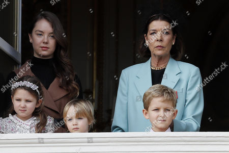 Princess Charlotte of Hanover (rear L), Princess Caroline of Hanover (rear R), Andrea Casiraghi's children Alexandre (R) and India (L) attend the celebrations marking Monaco's National Day at the Monaco Palace in Monaco, 19 November 2019. The National Day of Monaco is also known as The Sovereign Prince's Day.