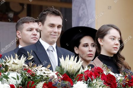Louis Ducruet (L) and Princess Alexandra of Hanover (R) attend the celebrations marking Monaco's National Day at the Monaco Palace in Monaco, 19 November 2019.