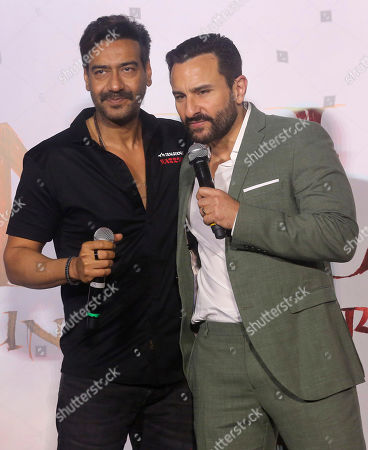 Ajay Devgn, Saif Ali Khan. Bollywood actors Ajay Devgn, left, is greeted by Saif Ali Khan during the trailer launch of their upcoming film Tanhaji in Mumbai, India, . The film is scheduled for release on Jan. 10