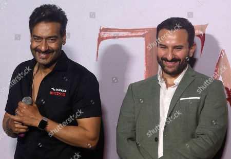 Ajay Devgn, Saif Ali Khan. Bollywood actors Ajay Devgn, left, and Saif Ali Khan attend the trailer launch of their upcoming film Tanhaji in Mumbai, India, . The film is scheduled for release on Jan. 10