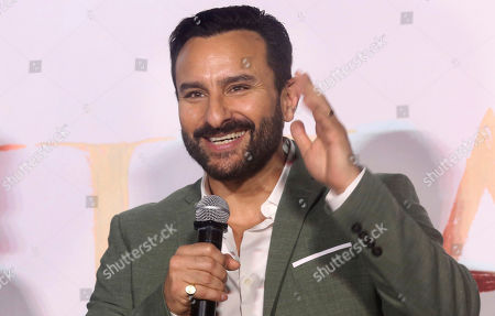 Bollywood actor Saif Ali Khan attends the trailer launch of his upcoming film Tanhaji in Mumbai, India, . The film is scheduled for release on Jan. 10
