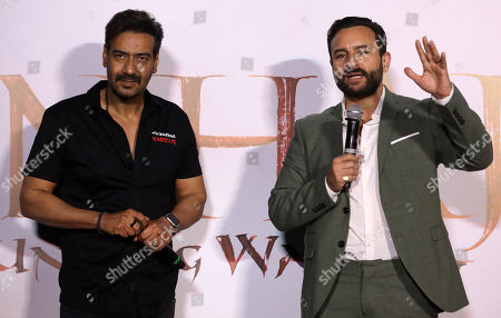 Bollywood actor Ajay Devgan (L) and Saif Ali Khan (R) gestures during the trailer launch of their upcoming film â??Tanhaji: The Unsung Warrioâ??, in Mumbai, India, 19 November 2019. The movie is made in 3D and is scheduled to release on 10 January 2020.
