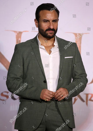 Bollywood actor Saif Ali Khan gestures during the trailer launch of their upcoming film â??Tanhaji: The Unsung Warrioâ??, in Mumbai, India, 19 November 2019. The movie is made in 3D and is scheduled to release on 10 January 2020.