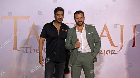 Stock Photo of Bollywood actor Ajay Devgan (L) and Saif Ali Khan (R) gestures during the trailer launch of their upcoming film â??Tanhaji: The Unsung Warrioâ??, in Mumbai, India, 19 November 2019. The movie is made in 3D and is scheduled to release on 10 January 2020.