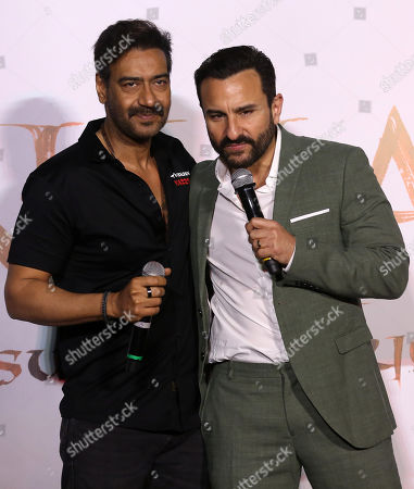 Stock Picture of Bollywood actor Ajay Devgan (L) and Saif Ali Khan (R) gestures during the trailer launch of their upcoming film â??Tanhaji: The Unsung Warrioâ??, in Mumbai, India, 19 November 2019. The movie is made in 3D and is scheduled to release on 10 January 2020.