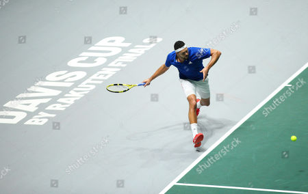 Stock Photo of Jo Wilfried Tsonga of France in action during the men's singles match against Japan