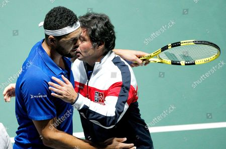 Jo Wilfried Tsonga of France in action during the men's singles match against Japan