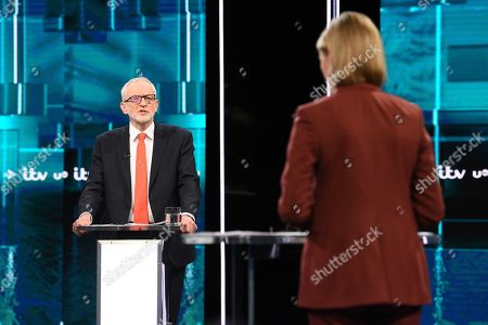 Jeremy Corbyn and Julie Etchingham during tonight's live debate (Picture available for editorial use only until December 19th 2019)