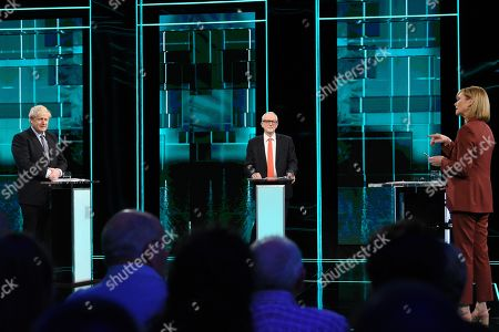 Boris Johnson, Jeremy Corbyn and Julie Etchingham during tonight's live debate (Picture available for editorial use only until December 19th 2019)